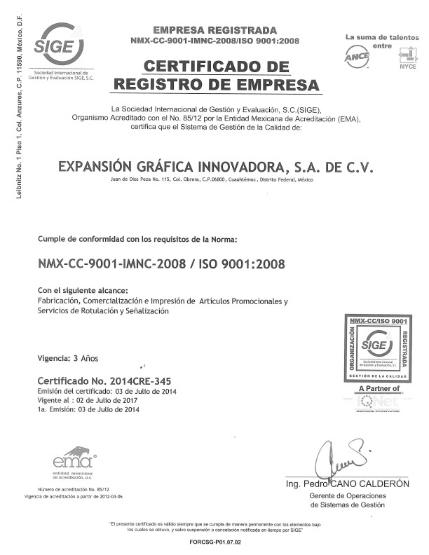 certificado de iso 9001 2008